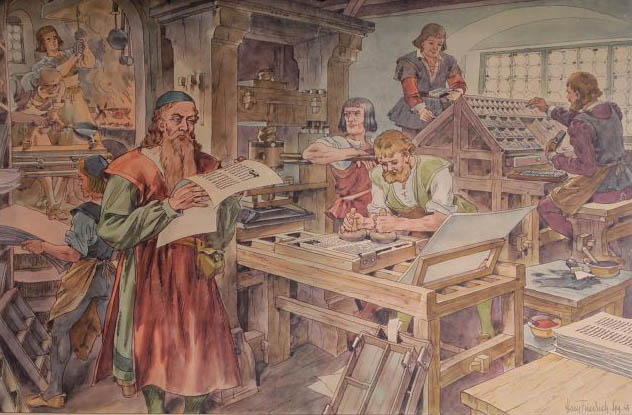 Buchdruck, Buchdruckerei, Werkstatt, Buch