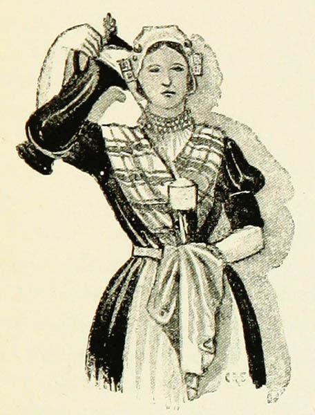 schottische Gastwirtin in Kostüm beim Bierausschank