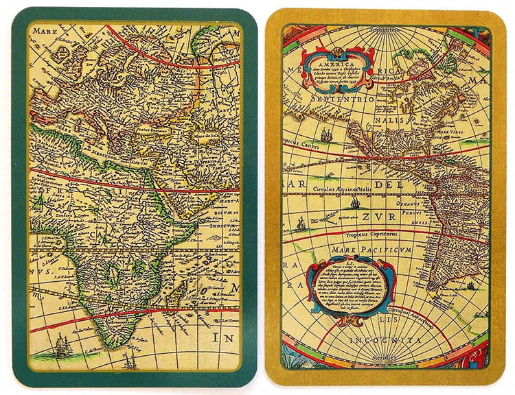 Spielkarten: Ausschnitte von alten Weltkarten