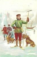 farbige Abbildung: Polarforscher Nansen am Nordpol auf Ski mit Schlittenhunden und Mannschaft im Hintergund