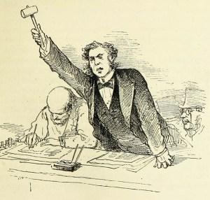 illu: Richter erhebt energisch den Hammer