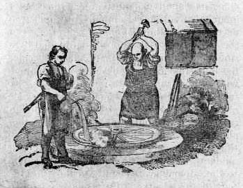 sw-Zeichnung: zwei Stellmacher bei der Bearbeitung eines Wagenrades