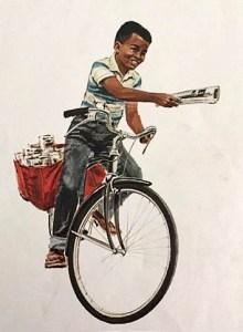 Zeitungsjunge, Zeitungsverkäufer, Fahrrad