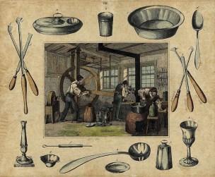 Zinngießer, Zinngefäße, Handwerk, Werkstatt