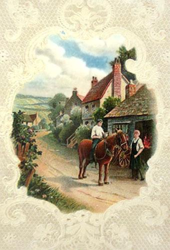 Prägekarte: Reiter auf Pferd kommt auf der Dorfstraße zum Hufschmied