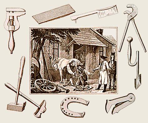 Lithographie: mittig Hufschmiedewerkstatt, auf äußerem Rand rundum diverse Werkzeuge