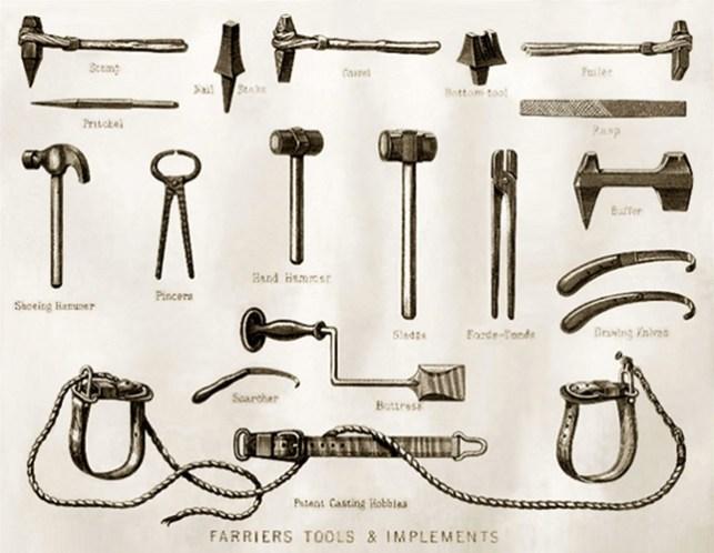 sw-Grafik: Hufschmiede-Werkzeuge