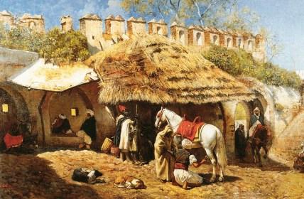 Gemälde: strohgedeckte Hufschmiede an einer Stadtmauer, inmitten von beduinischen Händlern kümmert sich der Hufschmied um ein weißes Pferd
