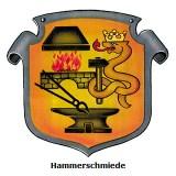 Hammerschmied - Berufswappenschild: silberner geschwungener Wappenrand, auf orangegelbem Grund links oben Schmiedefeuer-Esse mit Flammen, unten Amboss mit Zange, rechts darüber gekrönte aufrechte Sclange mit umschlungenem Hammer