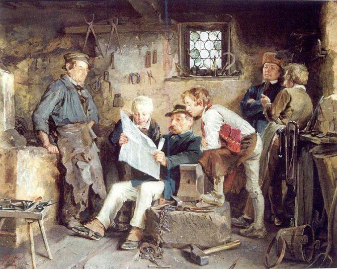 Gemälde: In der Schmiede mittig Bauer beim Vorlesen einer Zeitung. Zwei Knaben blicken ihm über die Schulter. Rechts zwei Männer beim Politisieren. Links der Schmied bei seinem Herde