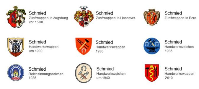9 verschiedene Zunftwappen und Handwerkszeichen der Schmied von 1500 bis 2010 - allen gemeinsam: Hammer, Zange, Hufeisen, 3x mittig Schlange mit Krone