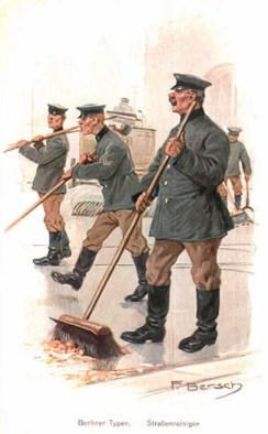 Farblitho: vier Straßenreiniger in Uniform kehren die Straße