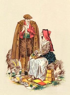 Ziegenhirte unterhält sich mit einer auf einem Stein sitzenden Frau mit Pilzkörbchen