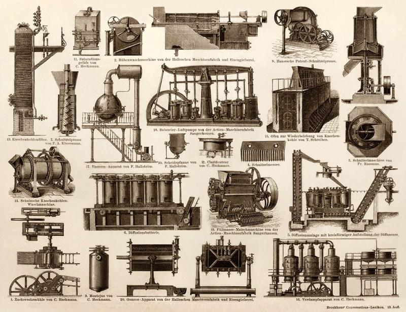 verschiedene Zuckerfabrikationsmaschinen