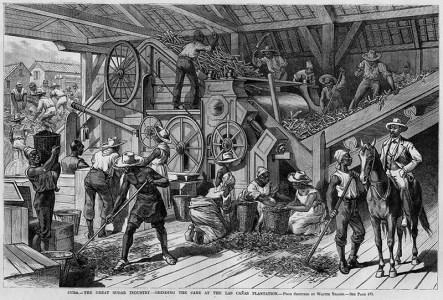 sw-Zeichnung; viele Arbeiter im Inneren einer Zuckermühle, Aufseher mit Pferd