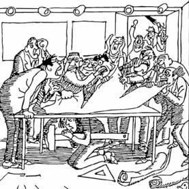 sw-Zeichnung: Humor: Architekten streiten sich und zerreißen dabei ein großes Papier