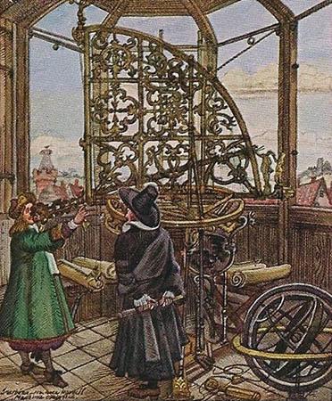 Sammelbild: zwei Astronomen in der Sternwarte, einer von ihnen benutzt den Quadranten