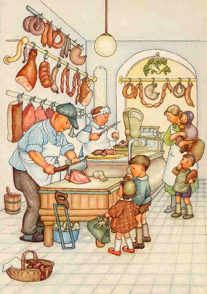 farbige Illu: Mutter mit vier Kindern im Fleischerladen