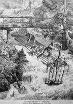 Illustration: 3 Flößer rauschen mit den Flößen den Bach hinunter