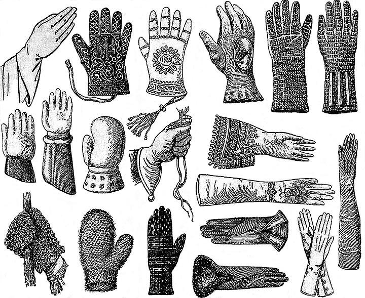sw-Illu: viele verschiedene Handschuharten