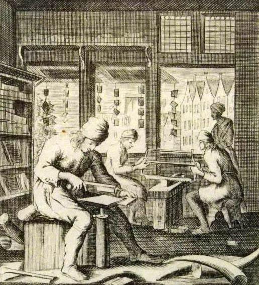 alter Stich: Kammmacher arbeiten an den Kämmen