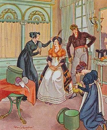 Sammelbild: Dame bei der Anprobe von Damenhüten