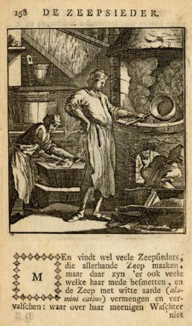 alter Stich: Seifensieder beim Sieden der Seife, niederländerländischer Begleittext