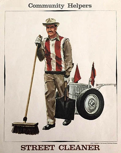 Poster: Straßenreiniger mit Besen, Schippe und Mülltonne