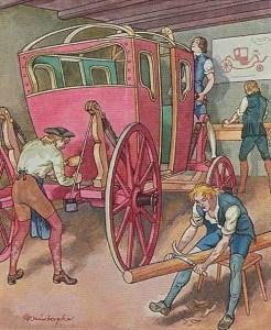 Wagner beim Kutschenbau