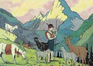 Ziegenhirte mit Ziegen in den Bergen