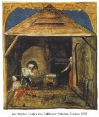 alte farbige Abbildung: zwei Bäcker in der Backstube und am Backofen