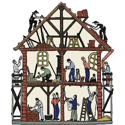 Farbillu: verschiedene Handwerker beim Innenausbau