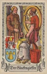 Sammelbild: Glockengießer spricht mit Geistlichem, neben ihm steht eine gegossene Glocke