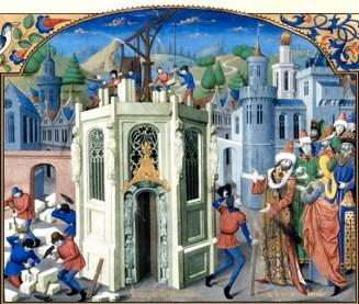 farbige Buchmalerei: Baustelle mit Steinmetzen links, mittig halbfertige Kirche mit Kranvorrichtung und Maurern beim Setzen von Steinen, rechts besichtigende Herrschaften, hintergund Stadtansicht