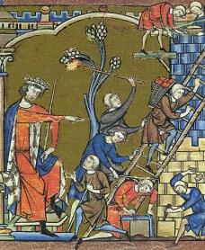 Kolorierter Holzschnitt: mittelalterliche Darstellung einer Baustelle