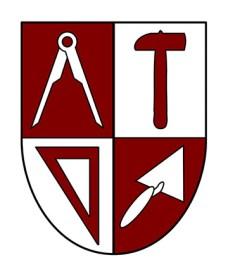 Wappen in rot-weiß, geteilt in 4 Segmente mit Zirkel, Hammer, Dreieck und Maurerkelle