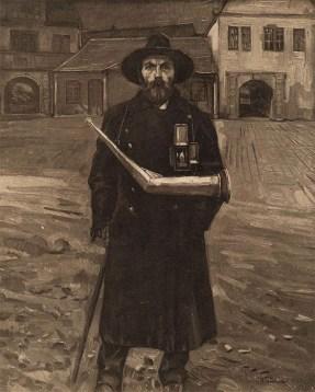 Gemälde: Portrait eines Nachtwächters mit Stab, Laterne und Horn