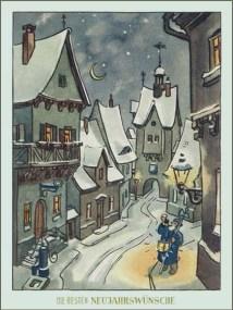Neujahrskarte: Verschneiter Ort