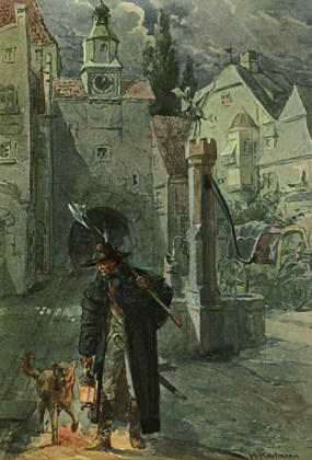 Gemälde: Nachtwächter mit Hund auf nächtlicher Runde, vom Stadttor kommend an einem Brunnen vorbei, im Hintergrund eine abgestellte Kutsche