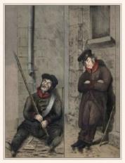 Farblitho: zwei an die Wand gelehnte Nachtwächter, einer sitzend und einer stehend