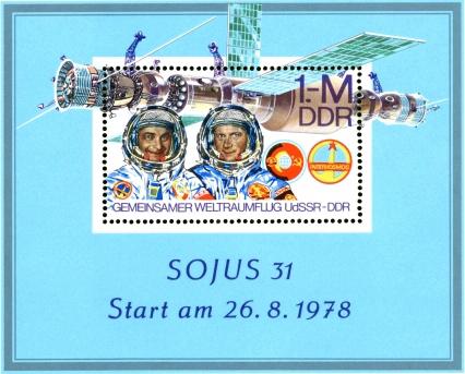 Briefmarkenblock zum Start der neuen Raumstation