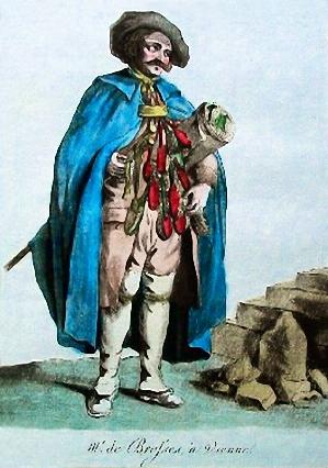 kolorierte Bild: Bürstenbinder in blauem Umhang