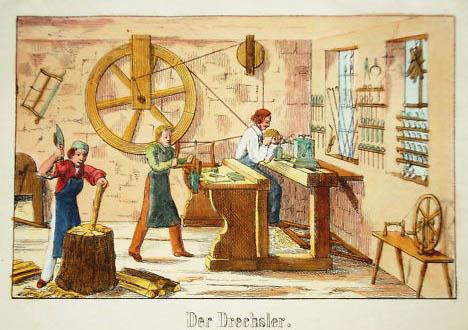 alte farbige Abbildung: drei Männer arbeiten in ihrer Werkstatt