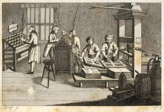 Drucker, Druckerei, Druckerwerkstatt, Buchdruckerei, Setzer