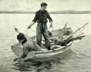 sw-Zeichnung: zwei junge Männer im Boot werfen Angelsehne aus