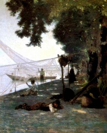 Gemälde: Fischer haben Netze am Ufer zum Trocknen und Reparieren aufgespannt