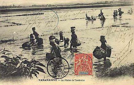 sw-Postkarte: Fischer mit Körben in der Hand und auf dem Kopf waten durchs Wasser