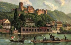 Flößer, Heidelberg, Neckar, Floß