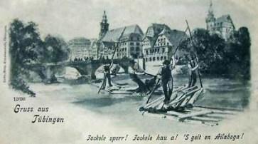 Grußkarte: Flößer auf einem Fluss, Stadtansicht