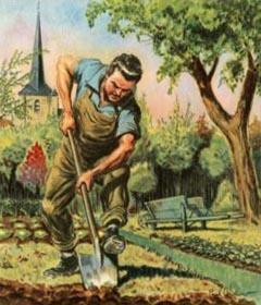 farbige Abbildung: Gärtner beim Umgraben